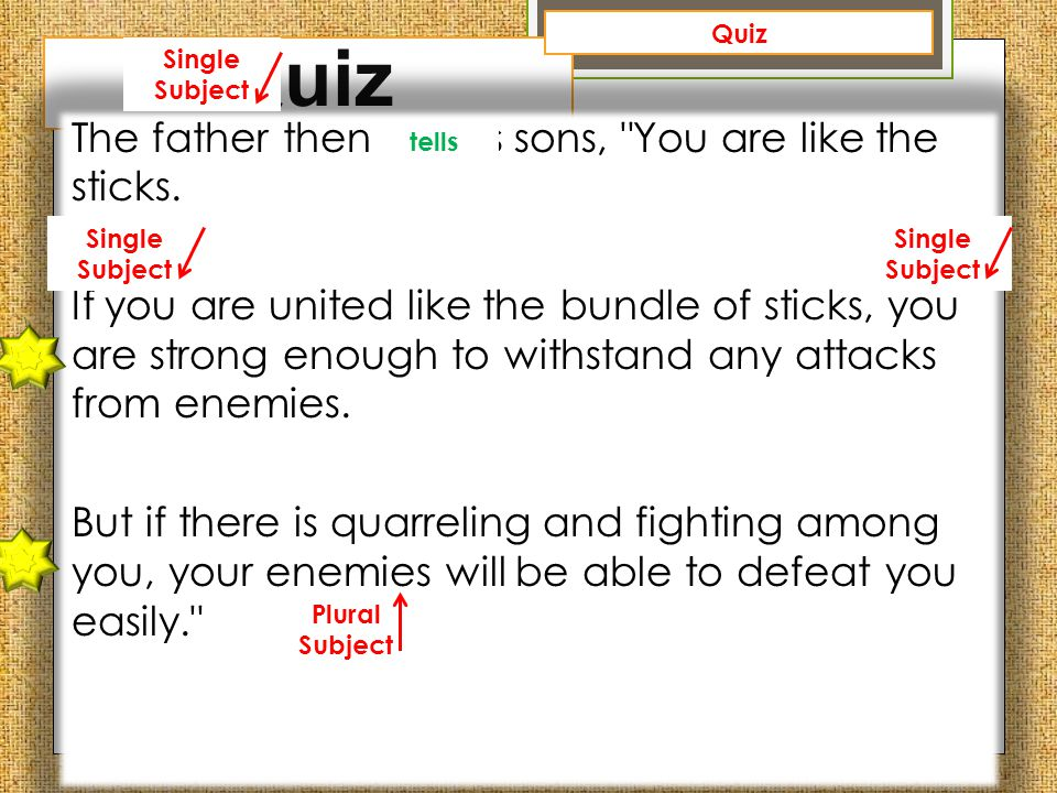 Quiz The father then tell his sons,
