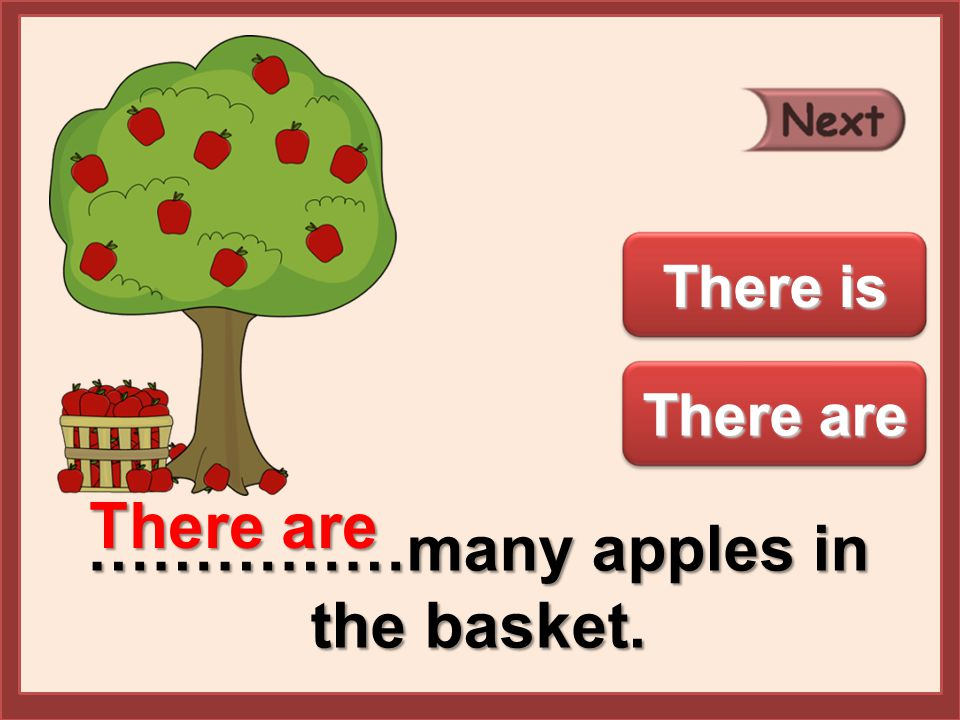 ……………many apples in the basket. There are There is There are