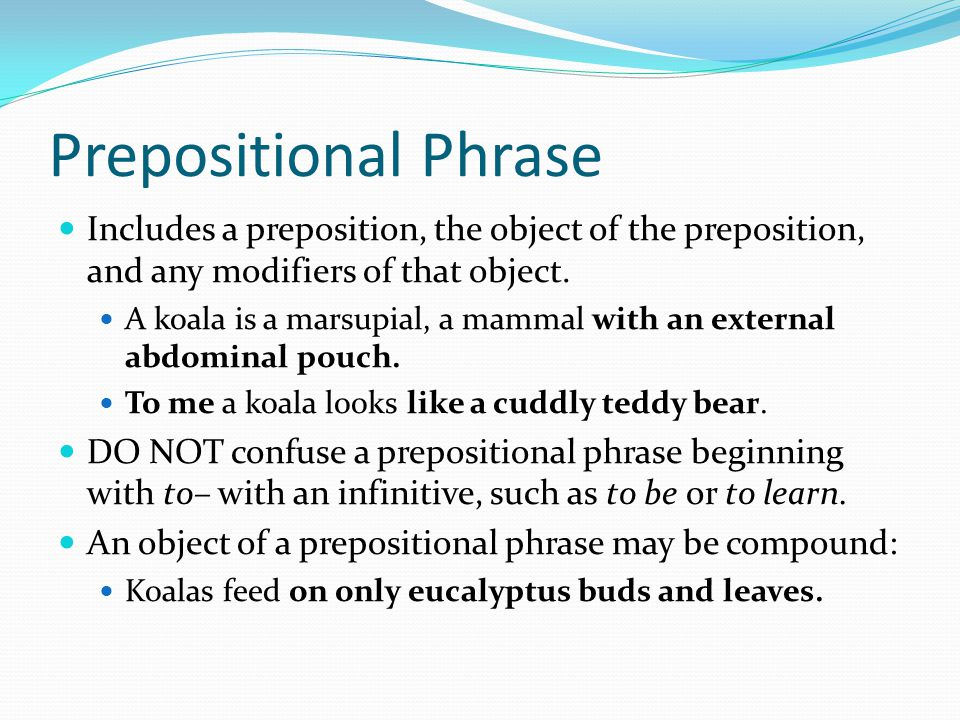 Prepositional Phrase Includes a preposition, the object of the preposition, and any modifiers of that object. A koala is a marsupial, a mammal with an