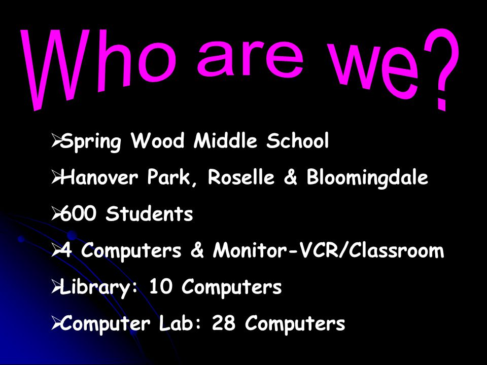  Spring Wood Middle School  Hanover Park, Roselle & Bloomingdale  600 Students  4 Computers & Monitor-VCR/Classroom  Library: 10 Computers  Computer Lab: 28 Computers