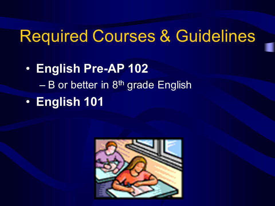 Required Courses & Guidelines English Pre-AP 102 –B or better in 8 th grade English English 101