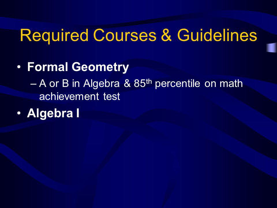 Required Courses & Guidelines Formal Geometry –A or B in Algebra & 85 th percentile on math achievement test Algebra I