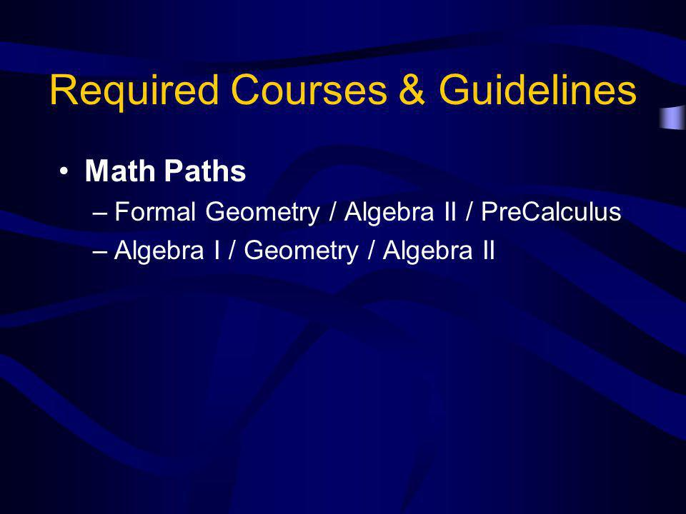Required Courses & Guidelines Math Paths –Formal Geometry / Algebra II / PreCalculus –Algebra I / Geometry / Algebra II