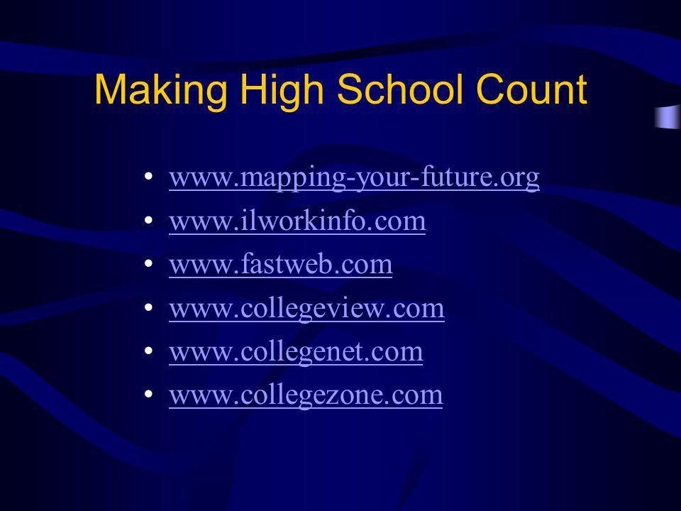Making High School Count www.mapping-your-future.org www.ilworkinfo.com www.fastweb.com www.collegeview.com www.collegenet.com www.collegezone.com