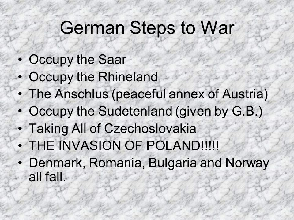 German Steps to War Occupy the Saar Occupy the Rhineland The Anschlus (peaceful annex of Austria) Occupy the Sudetenland (given by G.B.) Taking All of Czechoslovakia THE INVASION OF POLAND!!!!.