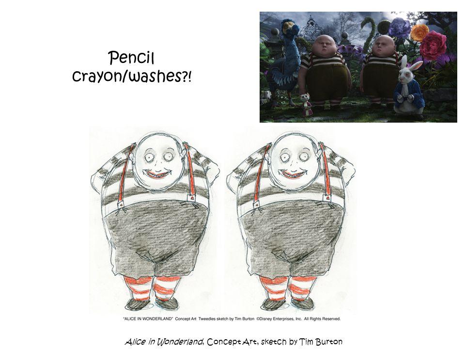 Pencil crayon/washes?! Alice in Wonderland, Concept Art, sketch by Tim Burton