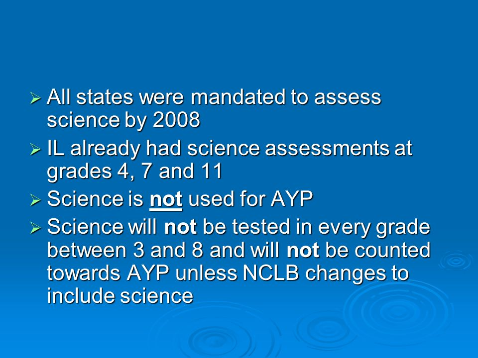  All states were mandated to assess science by 2008  IL already had science assessments at grades 4, 7 and 11  Science is not used for AYP  Scienc