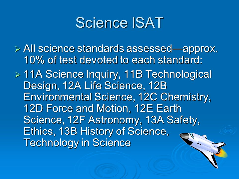 Science ISAT  All science standards assessed—approx. 10% of test devoted to each standard:  11A Science Inquiry, 11B Technological Design, 12A Life