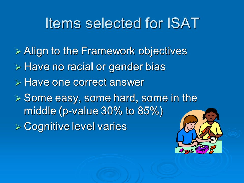 Items selected for ISAT  Align to the Framework objectives  Have no racial or gender bias  Have one correct answer  Some easy, some hard, some in