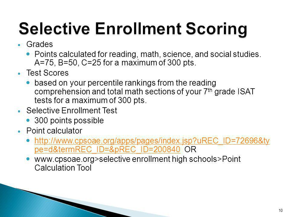 10 Grades Points calculated for reading, math, science, and social studies. A=75, B=50, C=25 for a maximum of 300 pts. Test Scores based on your perce