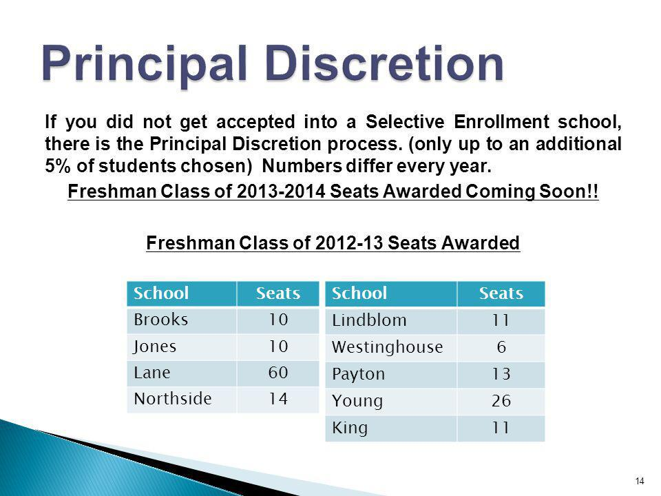 14 If you did not get accepted into a Selective Enrollment school, there is the Principal Discretion process. (only up to an additional 5% of students