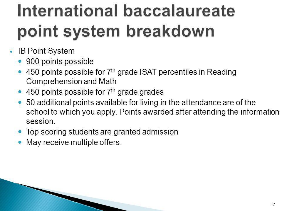 17 IB Point System 900 points possible 450 points possible for 7 th grade ISAT percentiles in Reading Comprehension and Math 450 points possible for 7 th grade grades 50 additional points available for living in the attendance are of the school to which you apply.