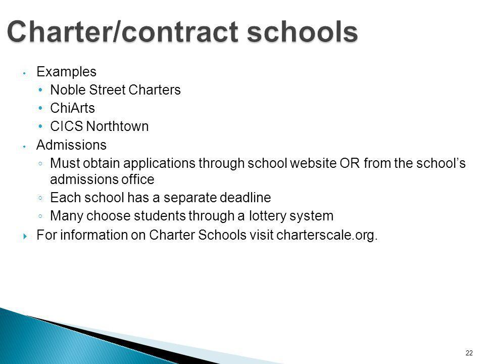 22 Examples Noble Street Charters ChiArts CICS Northtown Admissions ◦ Must obtain applications through school website OR from the school's admissions