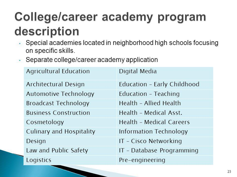 23 Special academies located in neighborhood high schools focusing on specific skills.