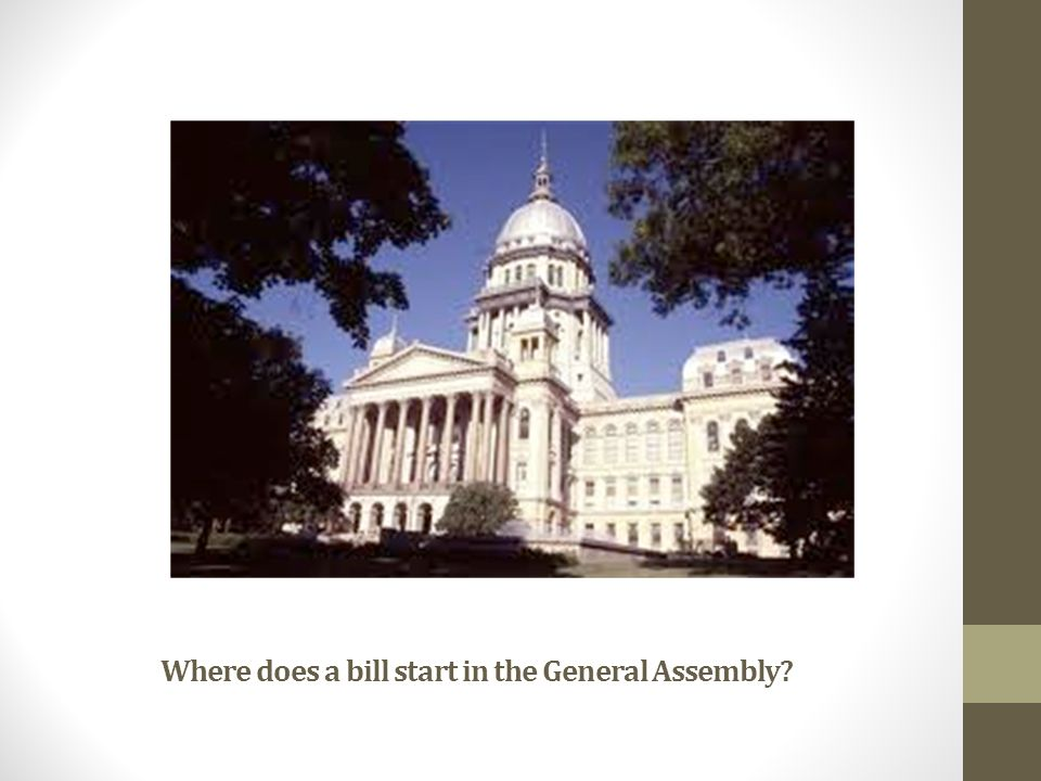 Where does a bill start in the General Assembly?