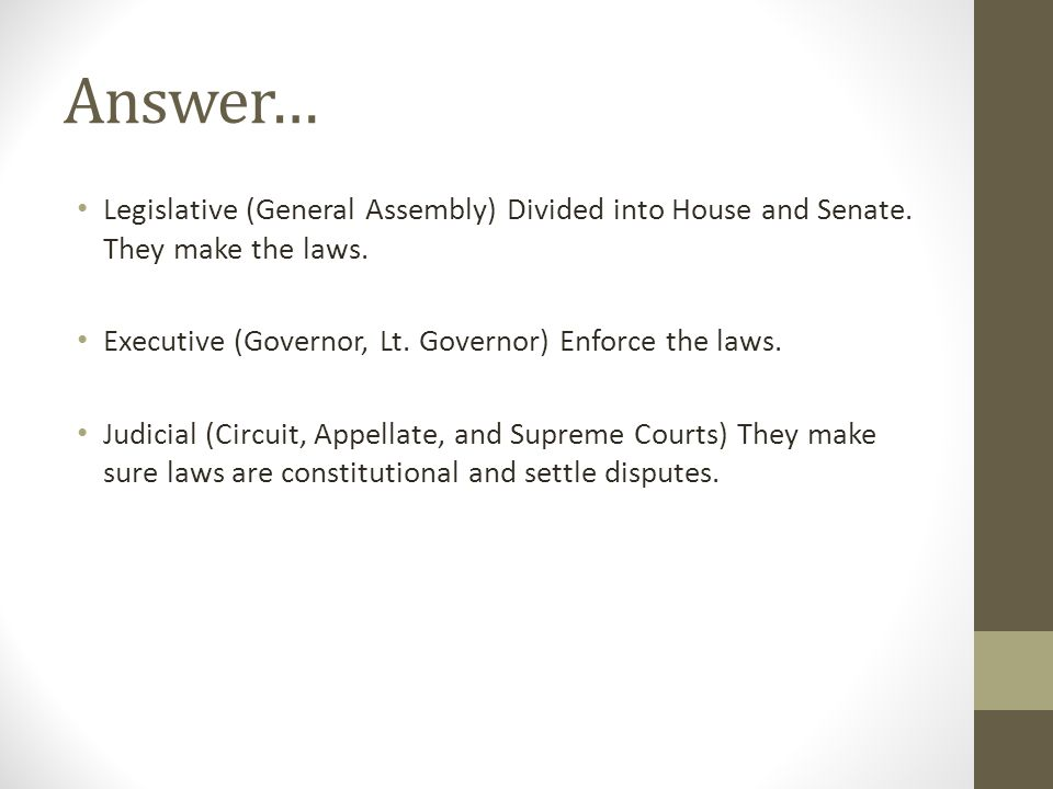 Answer… Legislative (General Assembly) Divided into House and Senate. They make the laws. Executive (Governor, Lt. Governor) Enforce the laws. Judicia