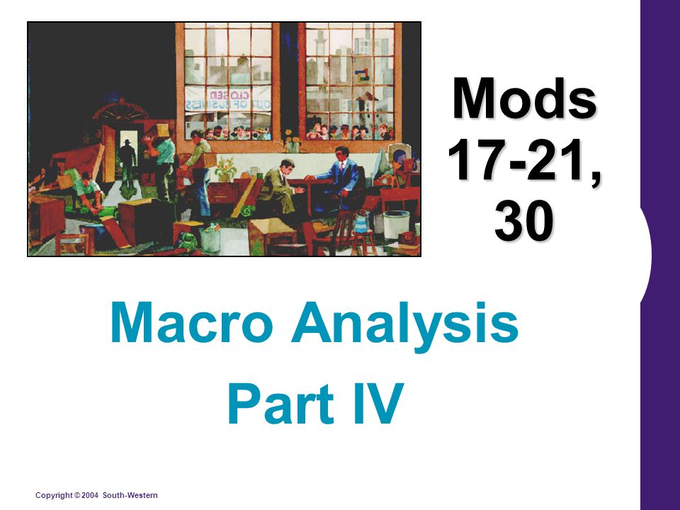 Copyright © 2004 South-Western Mods 17-21, 30 Macro Analysis Part IV