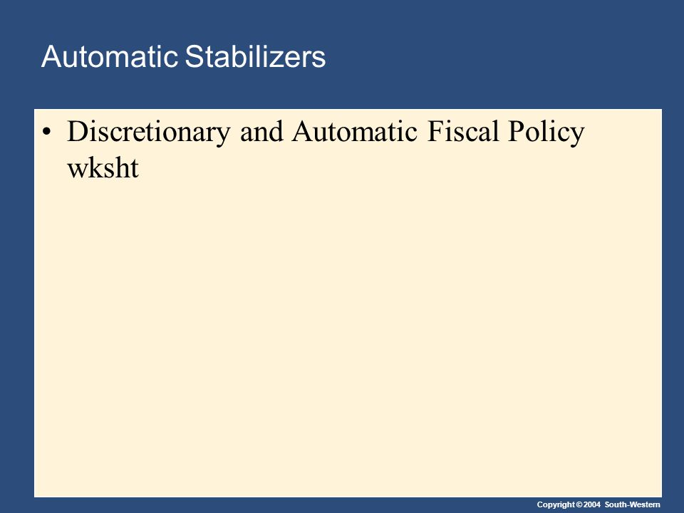 Copyright © 2004 South-Western Automatic Stabilizers Discretionary and Automatic Fiscal Policy wksht