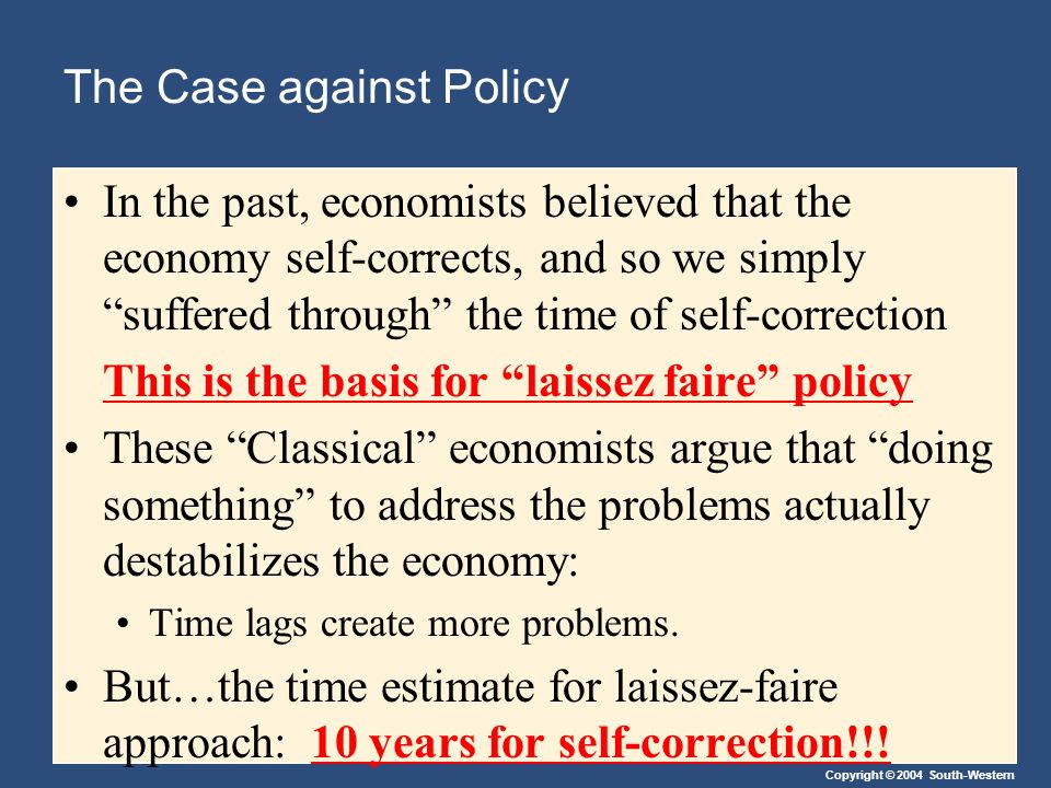 Copyright © 2004 South-Western The Case against Policy In the past, economists believed that the economy self-corrects, and so we simply suffered through the time of self-correction This is the basis for laissez faire policy These Classical economists argue that doing something to address the problems actually destabilizes the economy: Time lags create more problems.