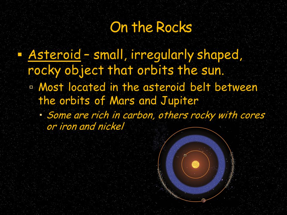 On the Rocks  Asteroid – small, irregularly shaped, rocky object that orbits the sun.  Most located in the asteroid belt between the orbits of Mars