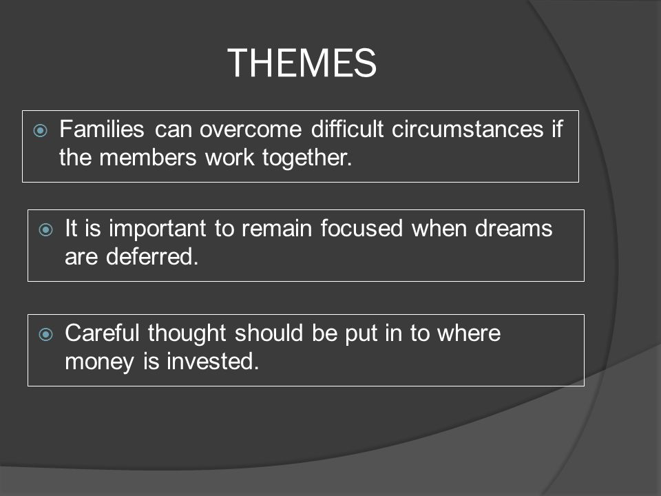 THEMES  Families can overcome difficult circumstances if the members work together.  It is important to remain focused when dreams are deferred.  C