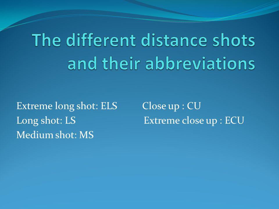 Extreme long shot: ELS Close up : CU Long shot: LS Extreme close up : ECU Medium shot: MS
