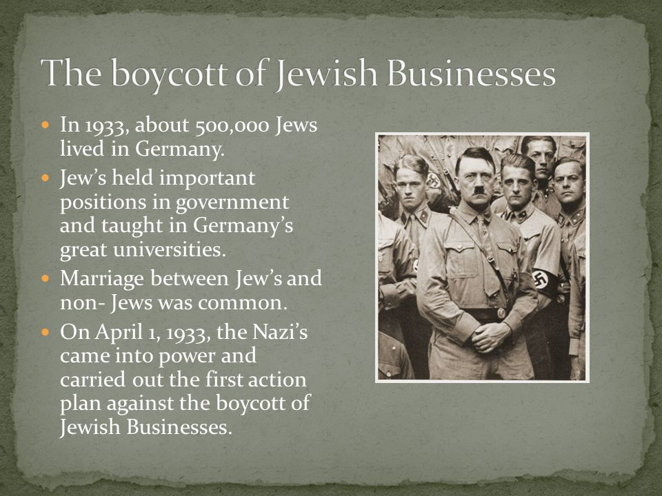 The Nazi spokesmen claimed the boycott was an act of revenge against the German Jews and foreigners.