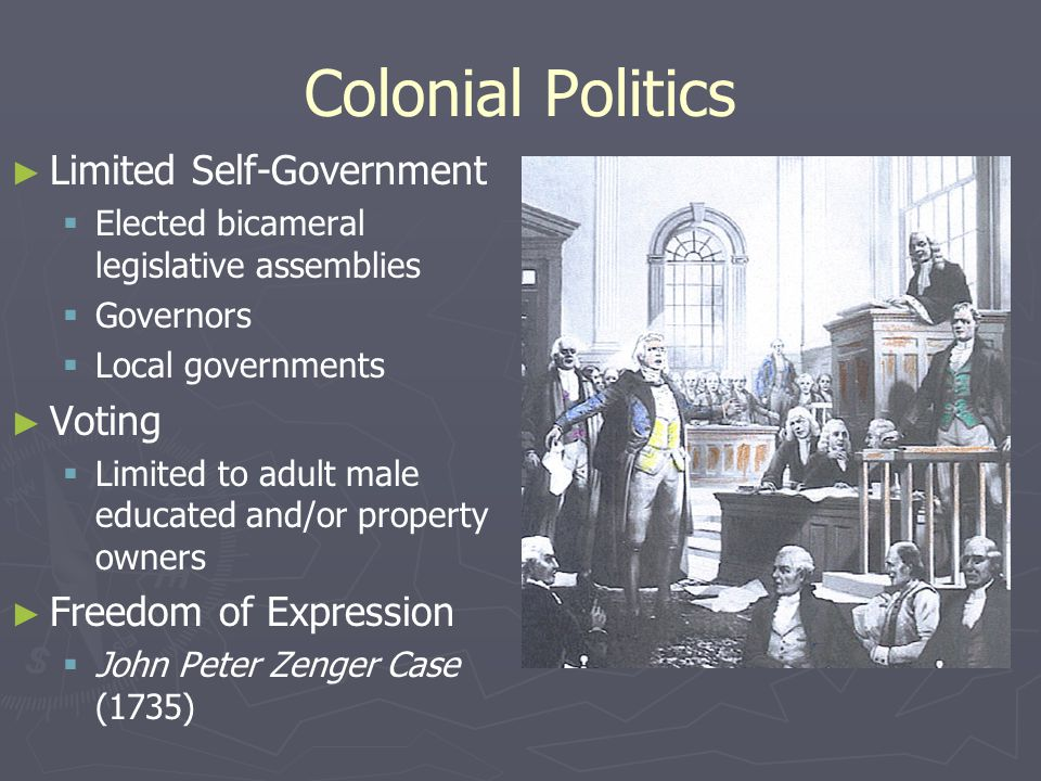 Colonial Politics ► ► Limited Self-Government   Elected bicameral legislative assemblies   Governors   Local governments ► ► Voting   Limited