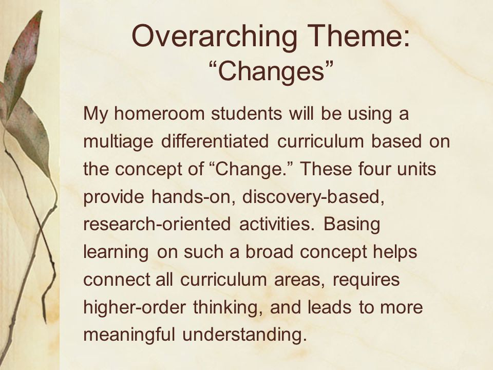"Overarching Theme: ""Changes"" My homeroom students will be using a multiage differentiated curriculum based on the concept of ""Change."" These four unit"