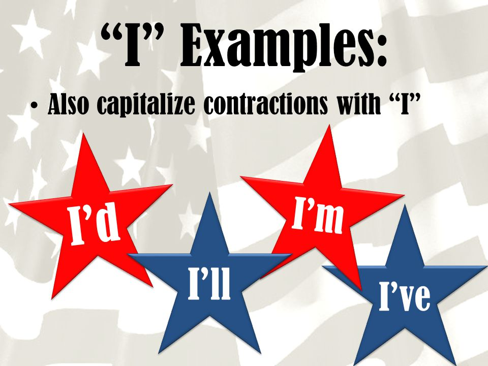"""I've """"I"""" Examples: Also capitalize contractions with """"I"""" I'd I'm I'll"""