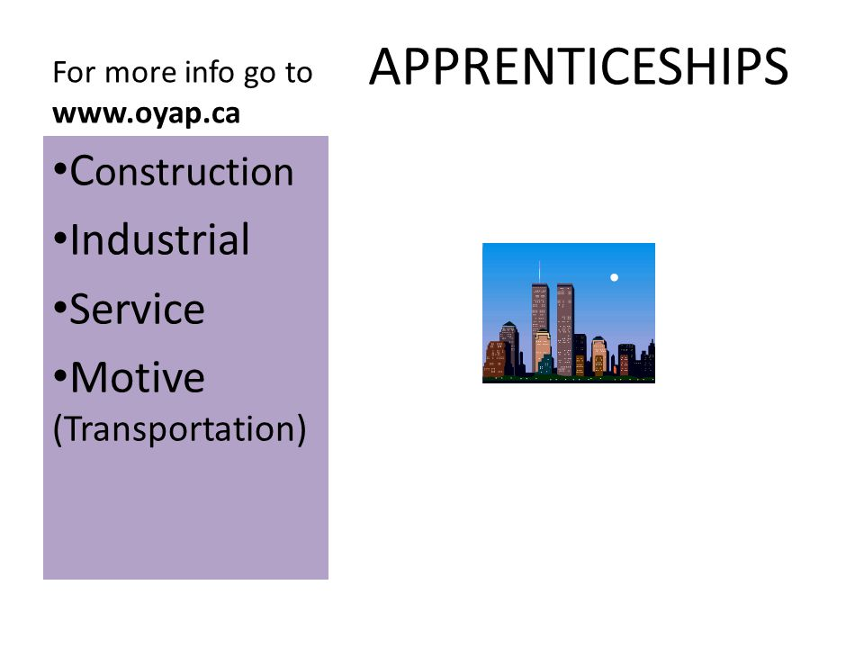 Approximately 200 opportunities Apprenticeships are agreements between an employer and employee wanting to learn a skill A person can receive either a journeyperson certification or a certificate of qualification, 80% of the training is in the workplace; the rest is at a training institution.
