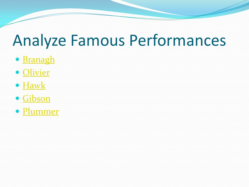 Analyze Famous Performances Branagh Olivier Hawk Gibson Plummer