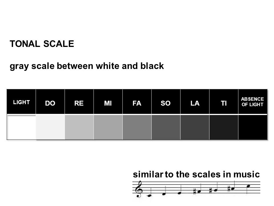 TONAL SCALE gray scale between white and black similar to the scales in music