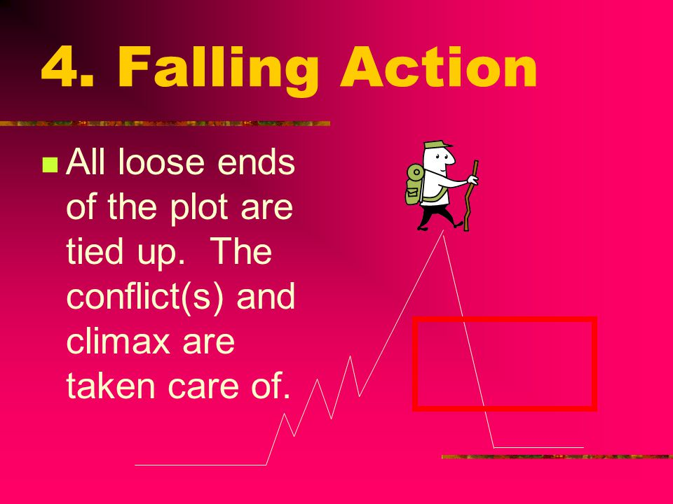 4. Falling Action All loose ends of the plot are tied up. The conflict(s) and climax are taken care of.