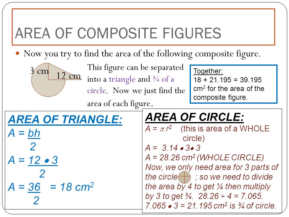 Now you try to find the area of the following composite figure. AREA OF COMPOSITE FIGURES This figure can be separated into a triangle and ¾ of a circ