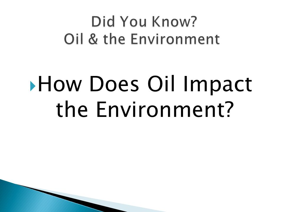  How Does Oil Impact the Environment