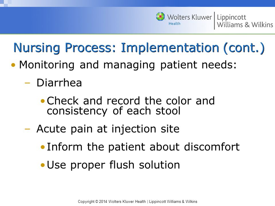 Copyright © 2014 Wolters Kluwer Health | Lippincott Williams & Wilkins Nursing Process: Implementation (cont.) Monitoring and managing patient needs: