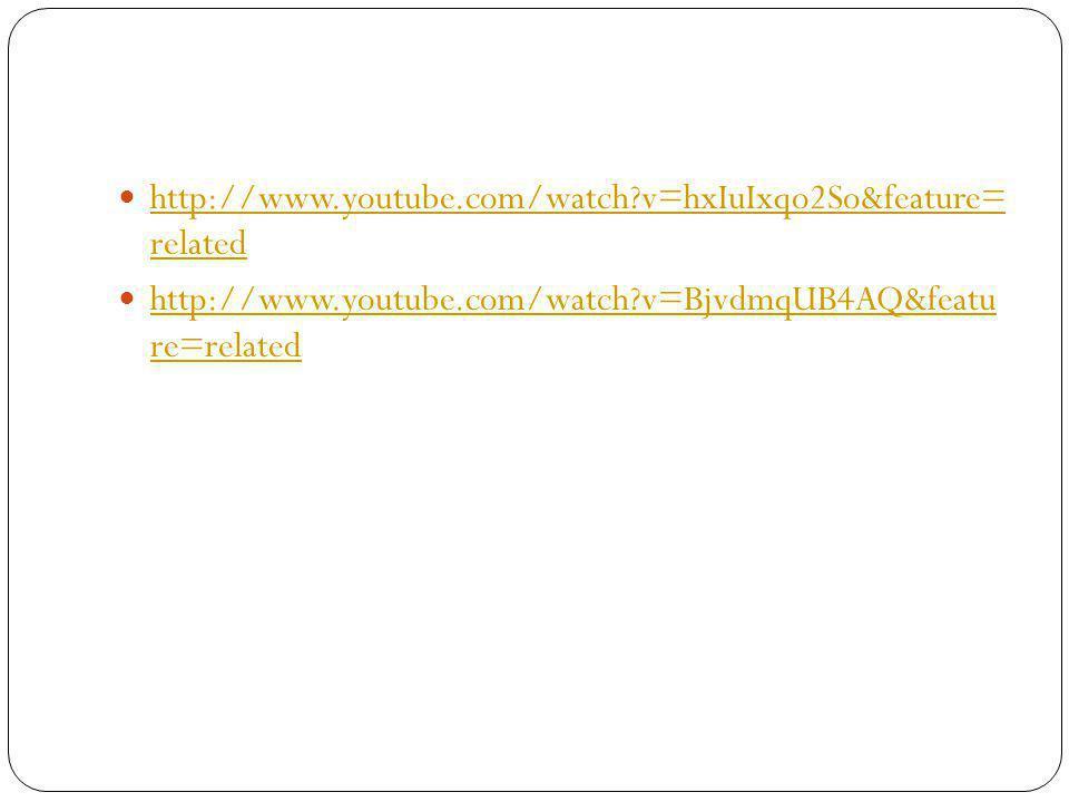 http://www.youtube.com/watch?v=hxIuIxqo2So&feature= related http://www.youtube.com/watch?v=hxIuIxqo2So&feature= related http://www.youtube.com/watch?v=BjvdmqUB4AQ&featu re=related http://www.youtube.com/watch?v=BjvdmqUB4AQ&featu re=related