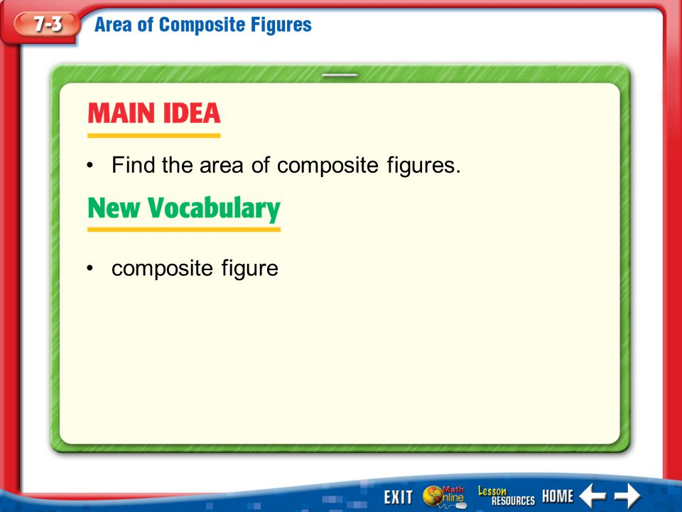Main Idea/Vocabulary composite figure Find the area of composite figures.