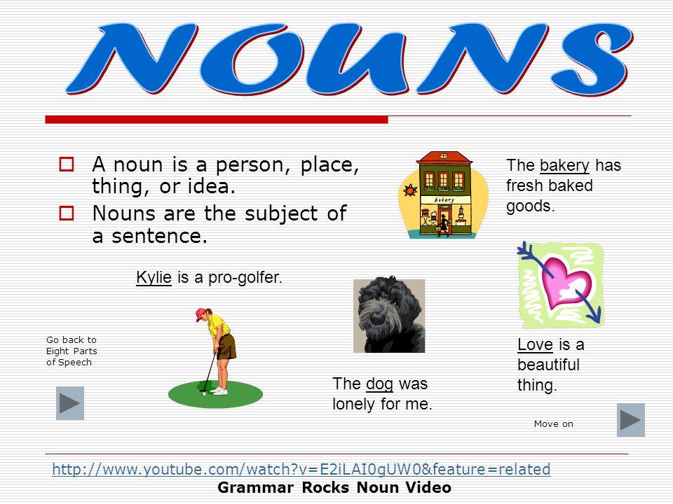 1.NounNoun 2.PronounPronoun 3.AdjectiveAdjective 4.VerbVerb 5.AdverbAdverb 6.ConjunctionConjunction 7.PrepositionPreposition 8.InterjectionInterjection You can click on each part of speech for a definition and example.