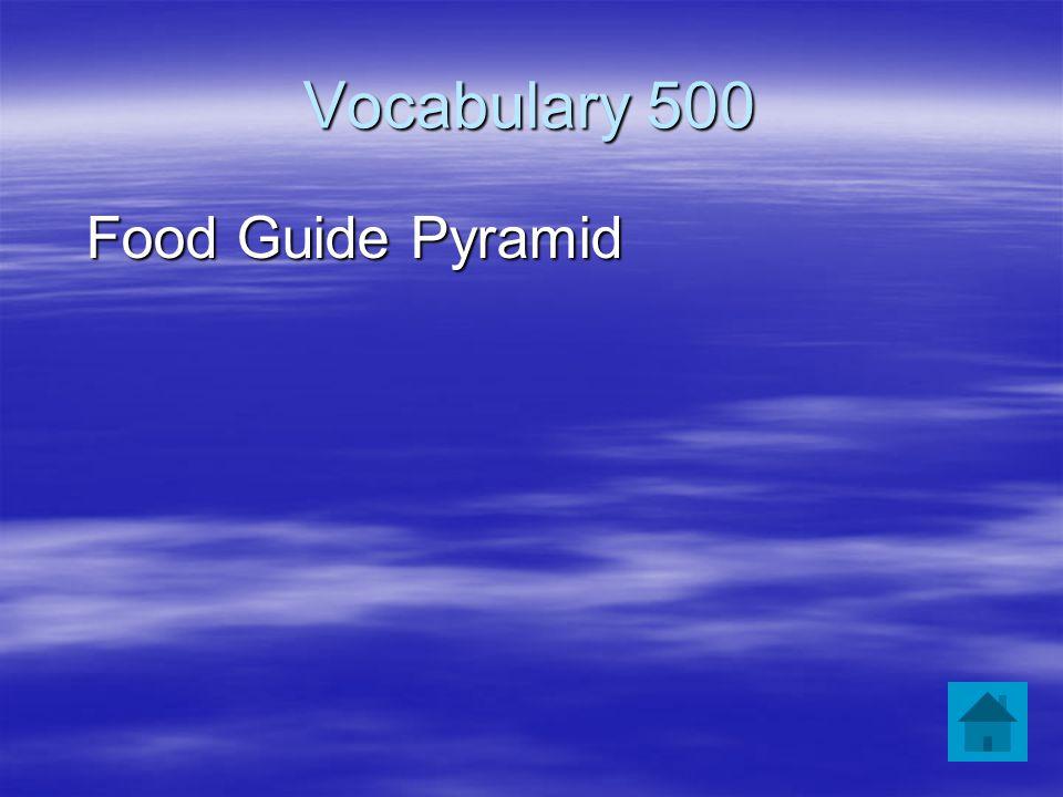 Vocabulary 500 Food Guide Pyramid