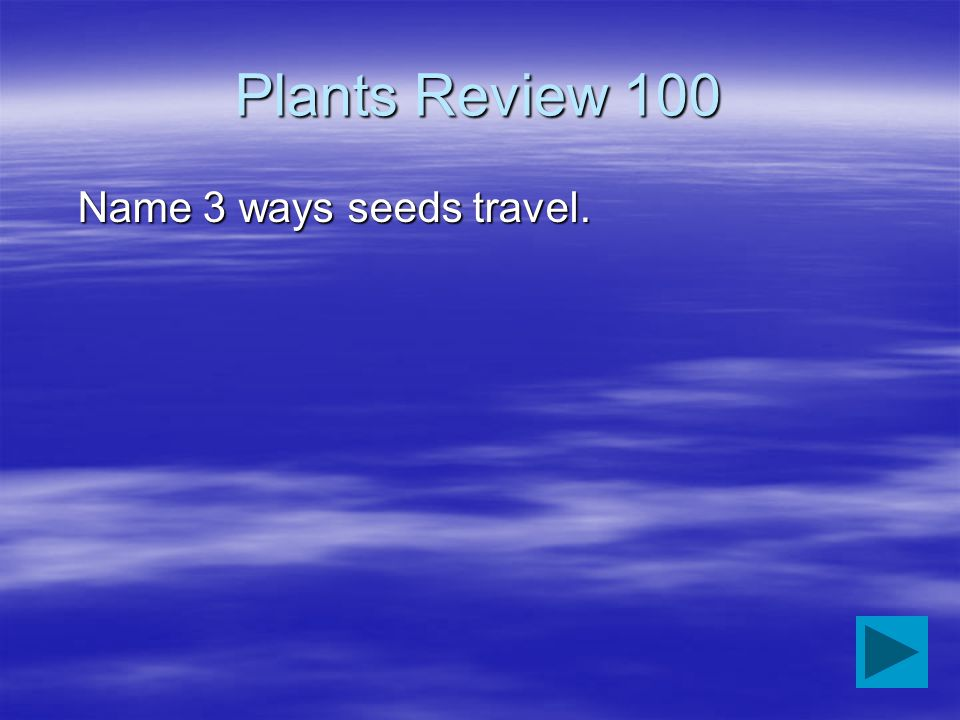 Plants Review 100 Name 3 ways seeds travel.