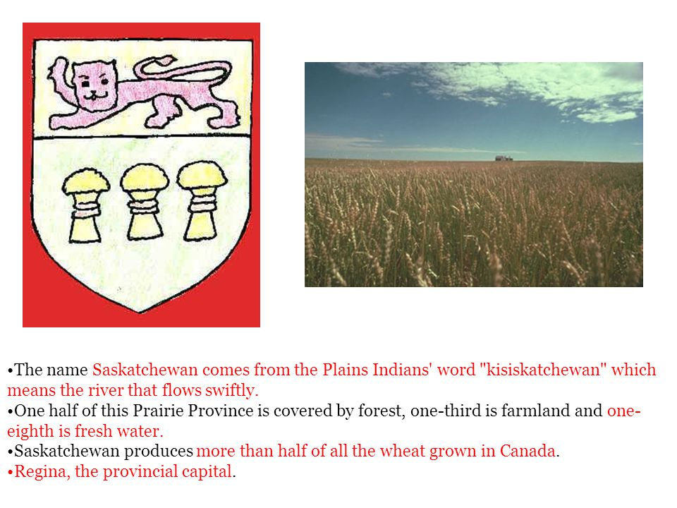 The name Saskatchewan comes from the Plains Indians' word