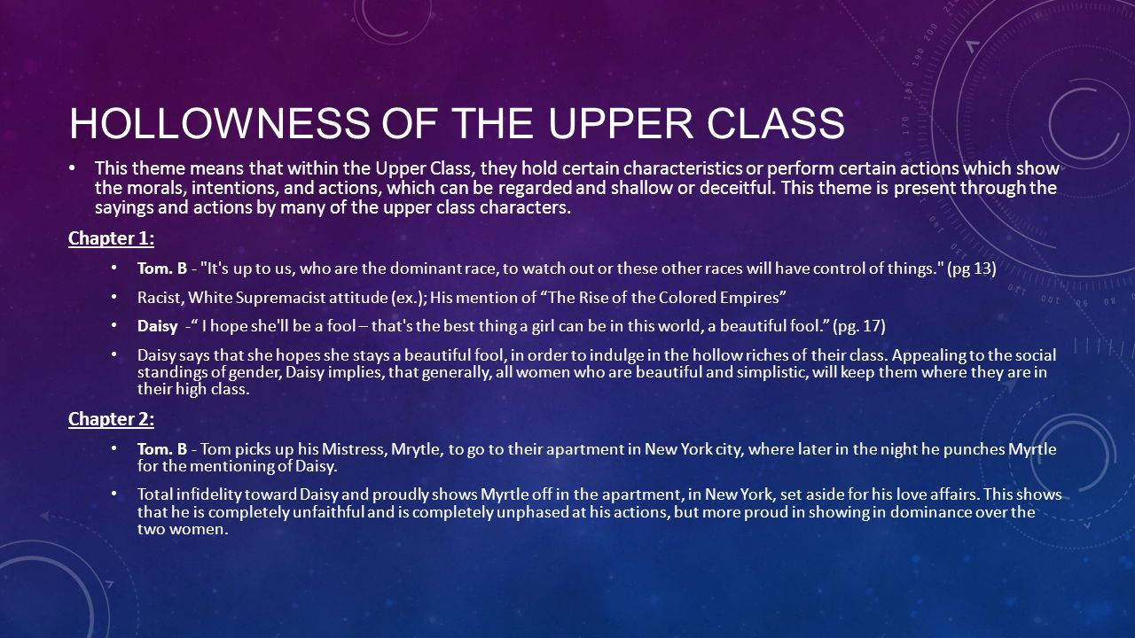 HOLLOWNESS OF THE UPPER CLASS Chapter 3: Description - Although most chapter focuses on the development of Gatsby, the description of his glamorous parties give insight to the reoccurring theme.