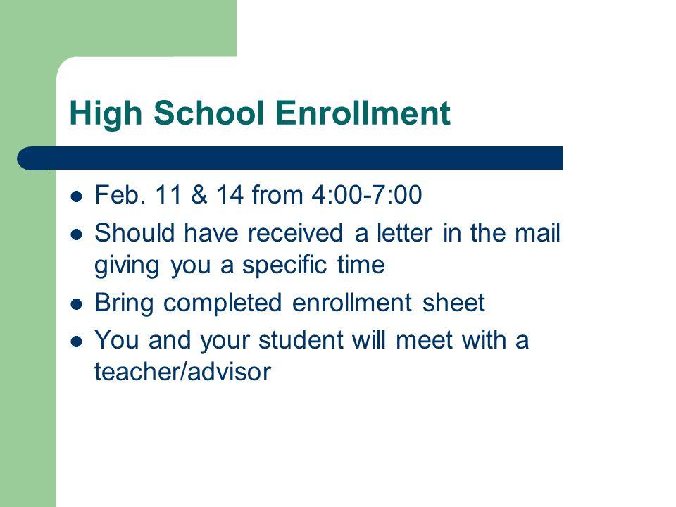High School Enrollment Feb.