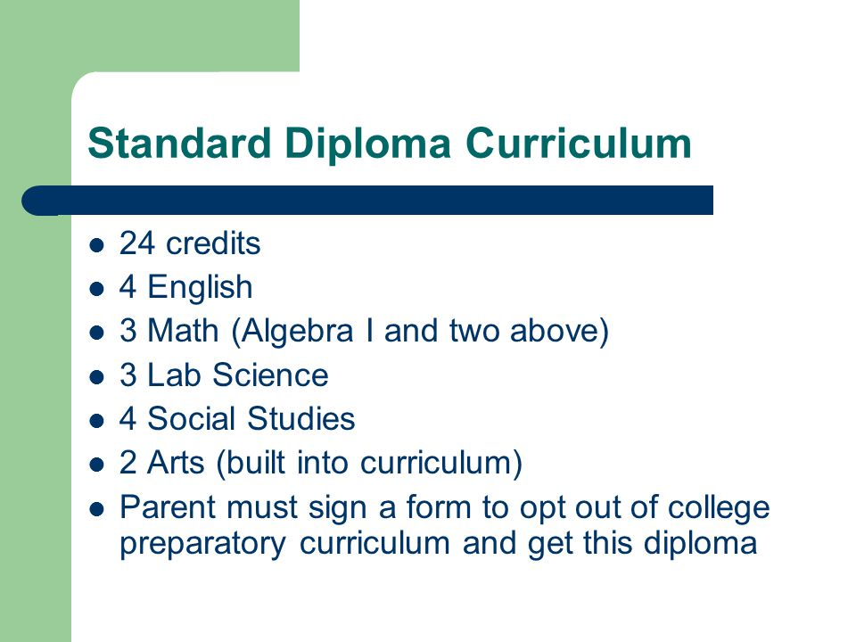 Standard Diploma Curriculum 24 credits 4 English 3 Math (Algebra I and two above) 3 Lab Science 4 Social Studies 2 Arts (built into curriculum) Parent must sign a form to opt out of college preparatory curriculum and get this diploma