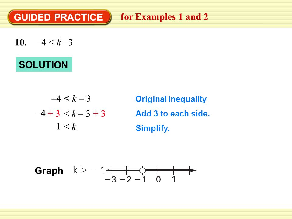 GUIDED PRACTICE for Examples 1 and 2 10. –4 < k –3 SOLUTION Original inequality Add 3 to each side. Simplify. –4 < k – 3 < k – 3+ 3 –4 + 3< k –1 Graph