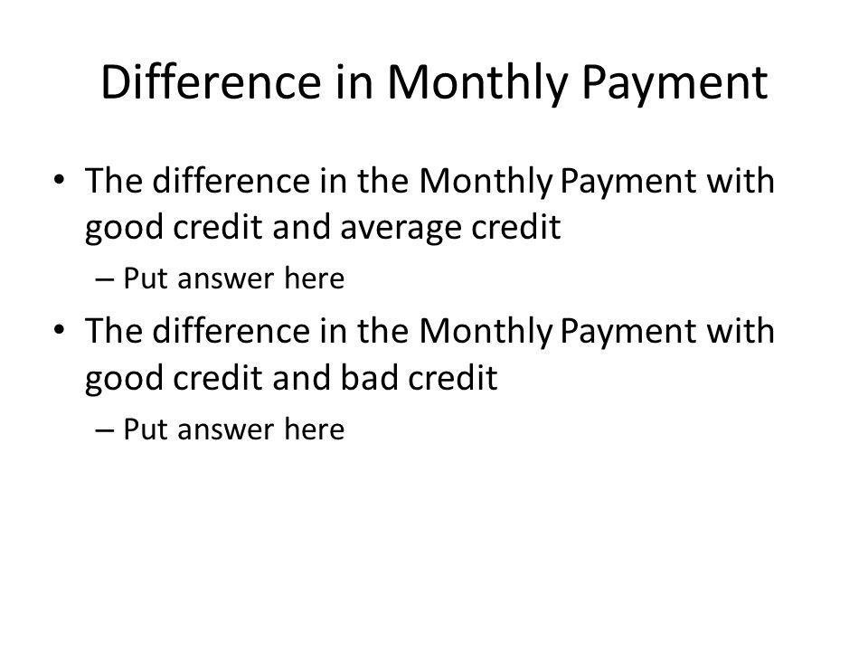 Difference in Monthly Payment The difference in the Monthly Payment with good credit and average credit – Put answer here The difference in the Monthly Payment with good credit and bad credit – Put answer here