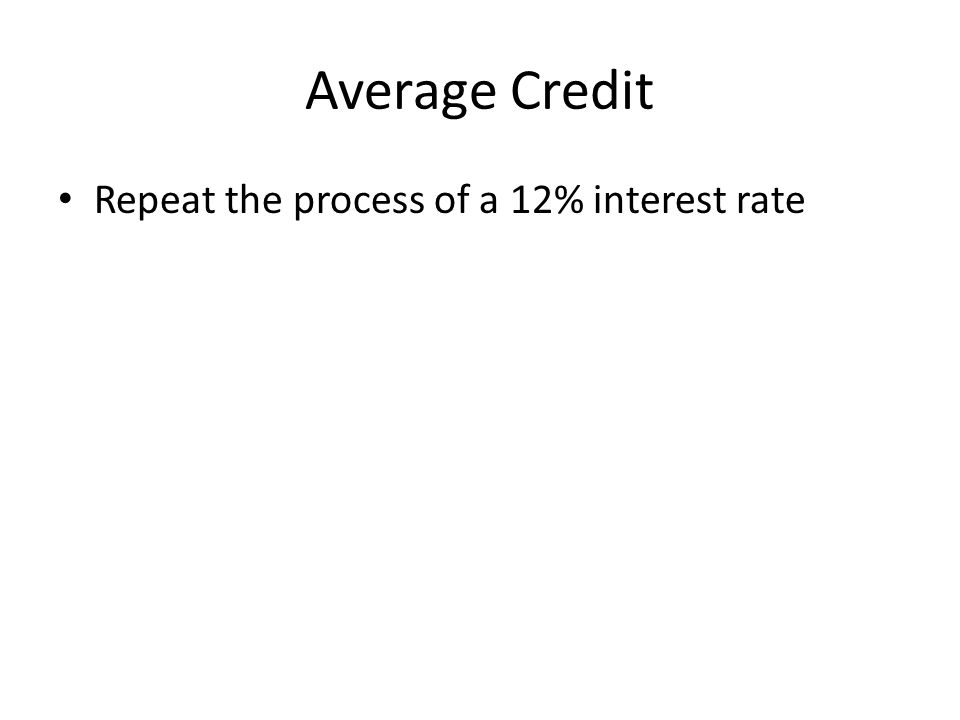 Average Credit Repeat the process of a 12% interest rate