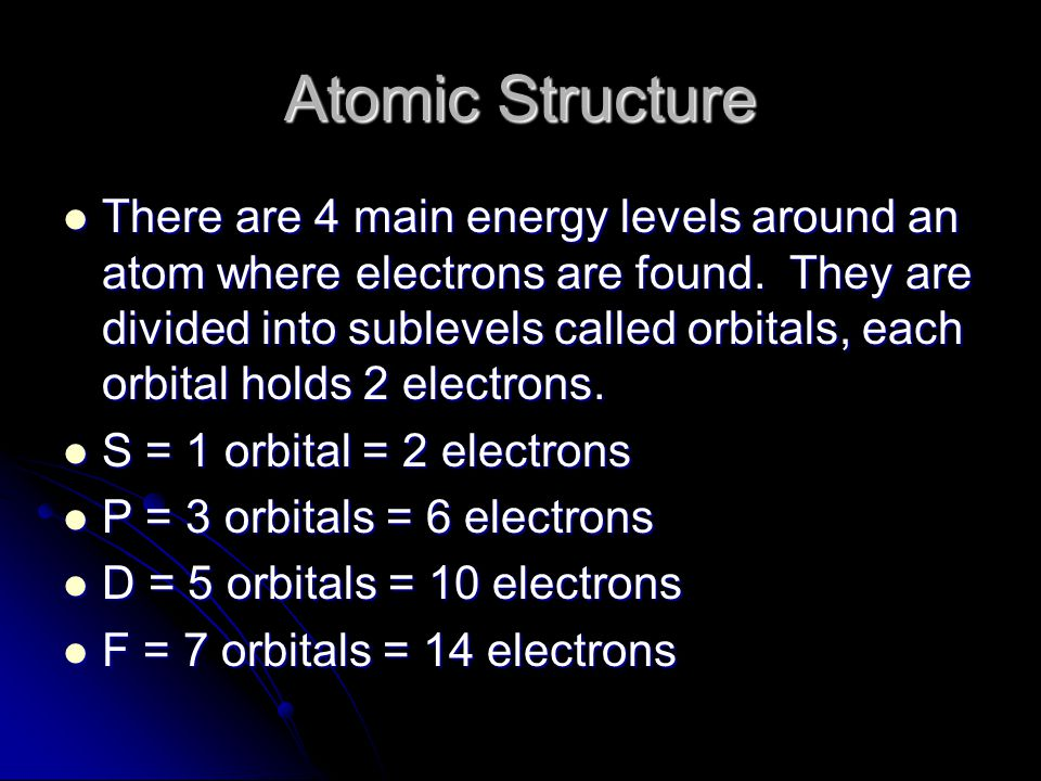 Atomic Structure There are 4 main energy levels around an atom where electrons are found. They are divided into sublevels called orbitals, each orbita